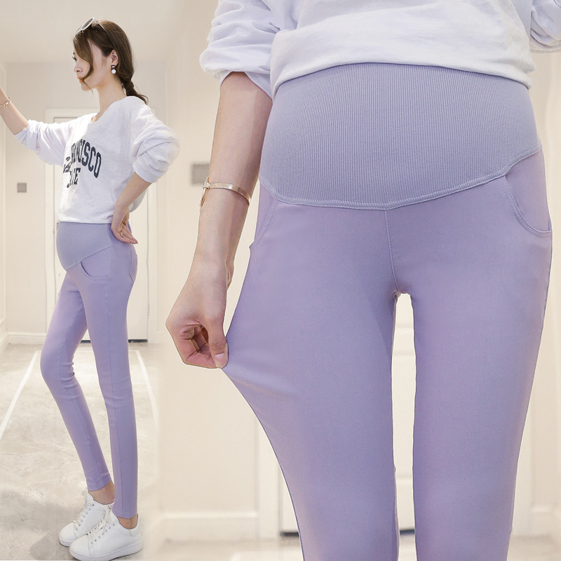 Spring Summer Skinny Maternity Pants Belly Mid Waist Pregnant Women Pants Candy Color Woman Pencil Pants Pregnancy Leggings
