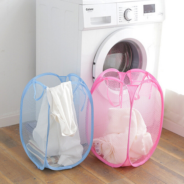 2PCS Folded Fine Mesh Color Net Laundry Basket Hamper Storage Basket Large Home Storage Basket Organizer Container New