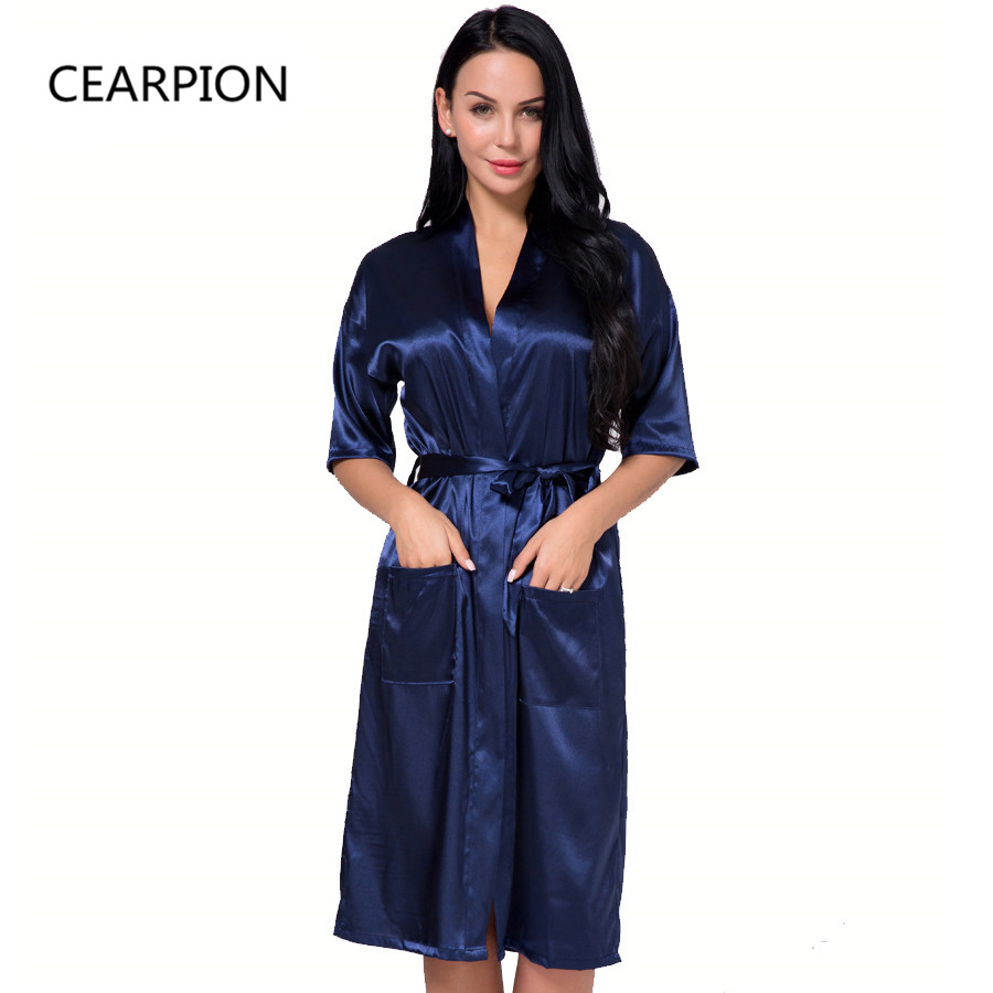 CEARPION Plus Size 3XL Satin Bride Bridesmaid Wedding Robe Women Bathrobe Sexy Home Clothes Casual Sleepwear Intimate Lingerie