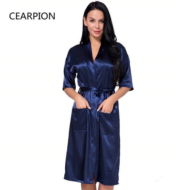 b1919bb79c CEARPION Plus Size S-3XL Satin Robe Gown Women s Kimono Bathrobe Sexy Home  Clothes Casual