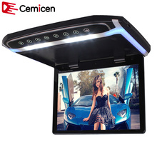 Cemicen 15.6 Inch Car Roof Mount Monitor Flip Down TFT LCD Player Support 1080P USB FM HDMI SD Touch Button Ceiling MP5 Player