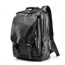 العلامة التجارية الفاخرة والجلود على ظهره الرجال مكافحة سرقة حقيبة مدرسية أسود بولي Leather حقيبة جلدية السفر حقيبة عادية للرجال على ظهره 14 بوصة محمول على ظهره