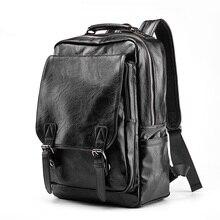 Luxe Merk Lederen Rugzak Mannen Antidiefstal Schooltas Zwart PU Lederen Reistas Casual mannen Bagpack 14 inch Laptop rugzak