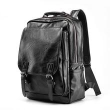 Luxury Brand Leather Backpack Men Antitheft School Bag Black PU Leather Travel Bag Casual Mens Bagpack 14 Inch Laptop Rucksack