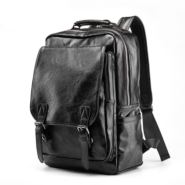 Luxury Brand Leather Backpack Men Antitheft School Bag Black PU Leather Travel Bag Casual Men's Bagpack 14 Inch Laptop Rucksack