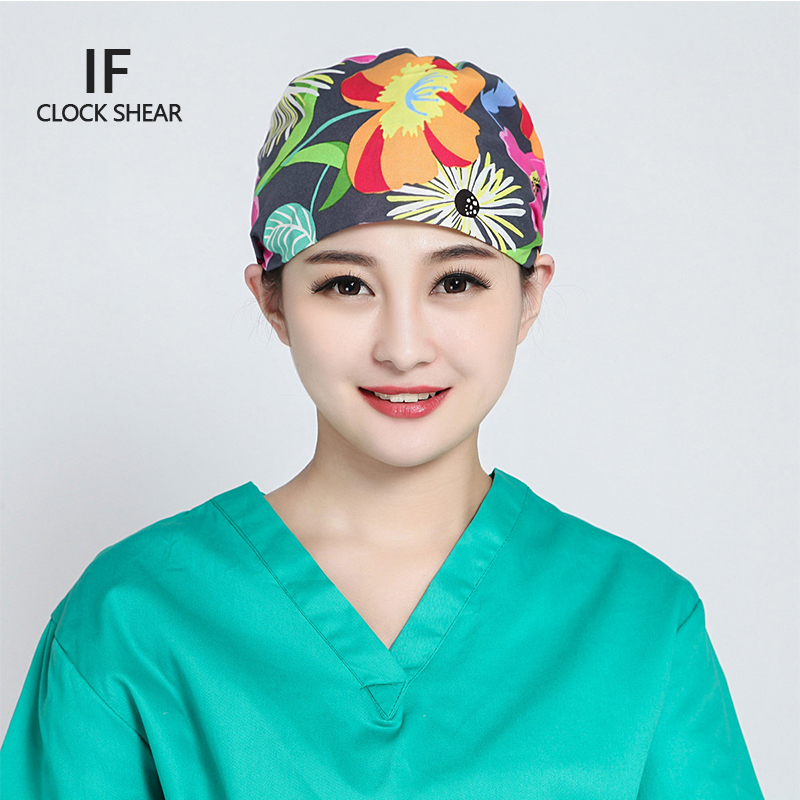 IF new Pet doctor hat men and women beauty salon work cap Operating room hat doctor nurse dental cotton printing green flower