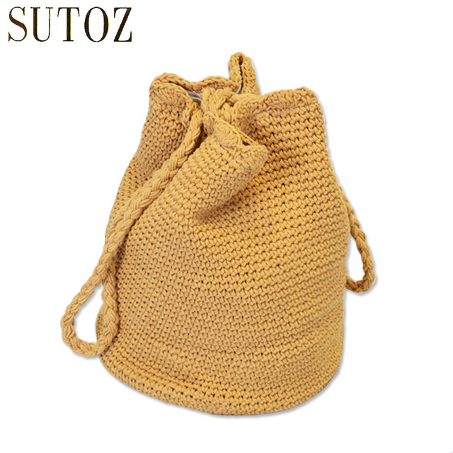 Cotton Crochet Shoulder Bags Women Bohemian Linen Casual Totes Lady String Knitting Handbags Woman Bag Purse