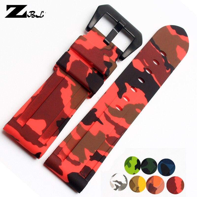 все цены на Rubber watch strap 24mm Watchband Sports Bracelet Mens waterproof Watch band camouflage wristwatches band Men Watch accessories онлайн