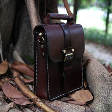 Mens Messenger Bag Genuine Leather Material Retro Style Handsome Men Mature Strict Gentleman Simple Joker Crossbody