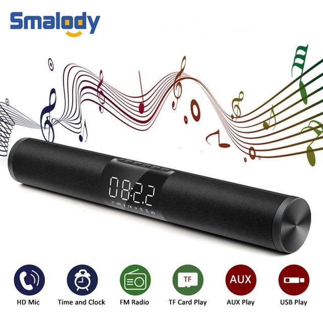 Smalody 20W Home Theater Soundbar Bluetooth Speaker Portable Column Wireless Bass Subwoofer 3D Surround LED FM Radio MP3 Alarm