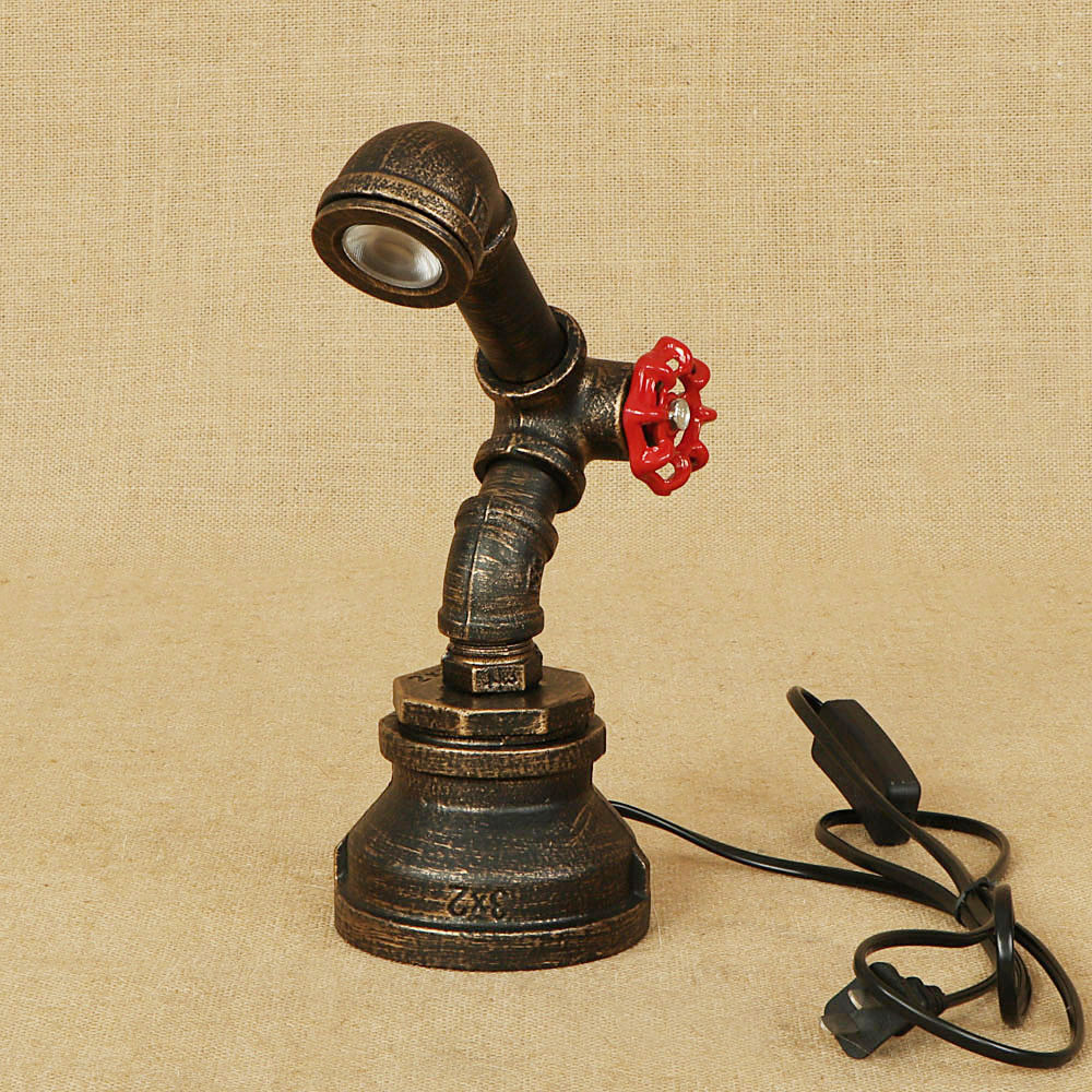 Retro Brown Patina Color Creative Iron Table Lamp Cafe Bar Study Decoration Lights Loft Vintage Pipe Table Lighting E27 LampRetro Brown Patina Color Creative Iron Table Lamp Cafe Bar Study Decoration Lights Loft Vintage Pipe Table Lighting E27 Lamp