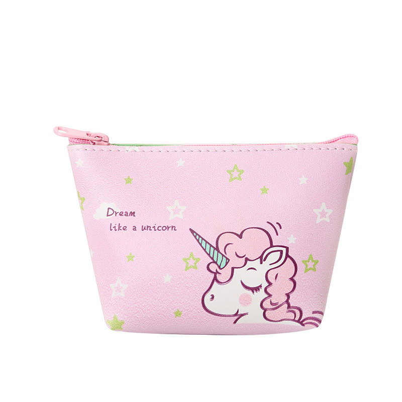 Leather Coin Purse Women Cartoon Unicorn Pattern Coin Money Bag Zipper Pocket Mini Cute Wallets Lady Girl Purse title=