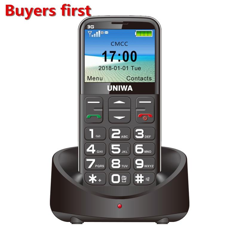 "Uniwa V808G Mobile Phone 3G WCDMA SOS Button 1400mAh 2.31"" Screen Old Man Flashlight Torch Cellphone"