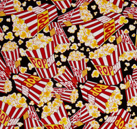 New Arrival Cartoon Popcorn Print Cotton Fabric Material Sewing Dress Clothes Skirt Tissue