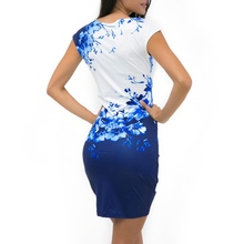 2017 WJ Summer Women bodycon dress plus size clothing women chic fashionable sexy print  dresses K8