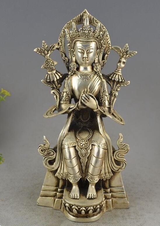 Tibet Buddhism Silver Seat Tara Kwan-yin Guan Yin Bodhisattva Goddess Statue statue