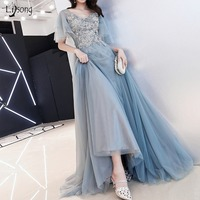 Elegant Dusty Blue Long Evening Dresses 2018 Appliques Lace Beaded A line Tutu Evening Gowns With Puff Short Sleeves Plus Size