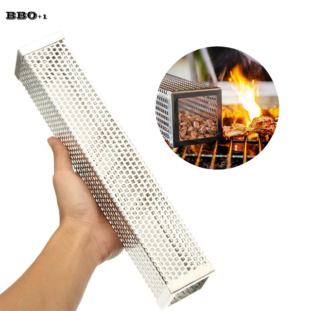12in Pellet Smoker Tube Stainless Steel Cube Smoker Hot or Cold Smoking Generator BBQ Grill Smoking Mesh Tubes BBQ Accessoires