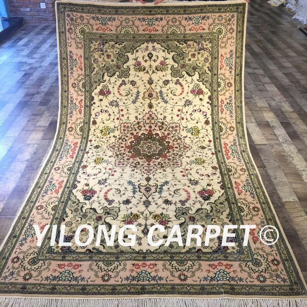Shop Classical Kashan Medallion Hand Knotted Persian Wool: Yilong 5'x8' Hand Knotted Persian Antique Carpet Exquisite