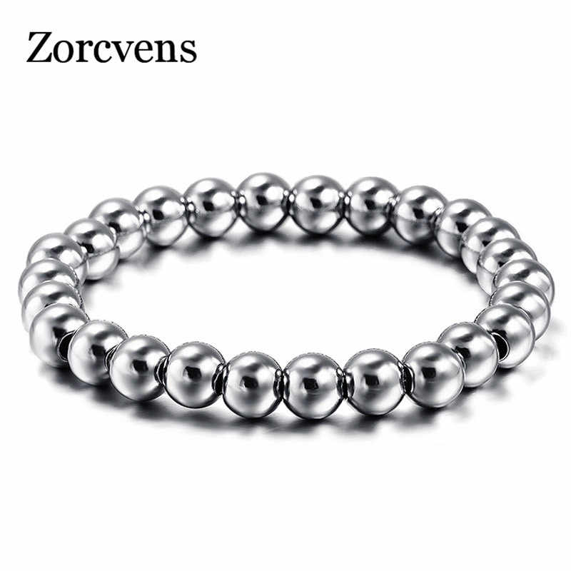 ZORCVENS 316L Stainless Steel Mens Bracelet Classical Biker Bicycle Heavy Metal 8MM Ball Link Chain Jewelry Bracelets For Men