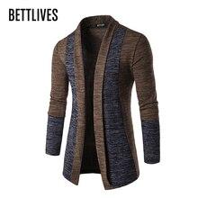 Bettlives Для мужчин свитер кардиган мужской Slim Fit Повседневное кардиган с длинными рукавами стильная фирменная верхняя одежда с шалевым воротником Трикотаж Y35