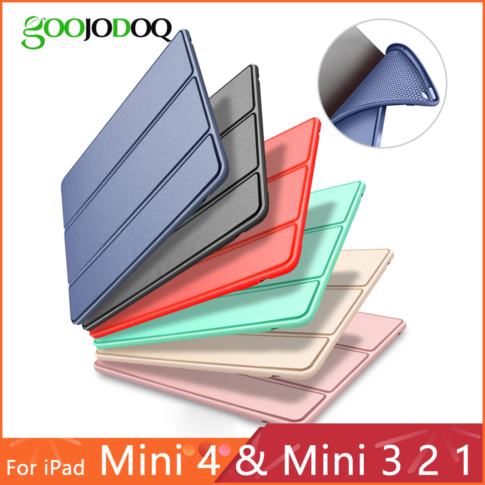 Veske til iPad Mini 4 3 2 1 Veske PU Lær Silikon Soft Back Trifold Stativ Auto Sleep Smart Deksel til iPad Mini 2 Case Funda