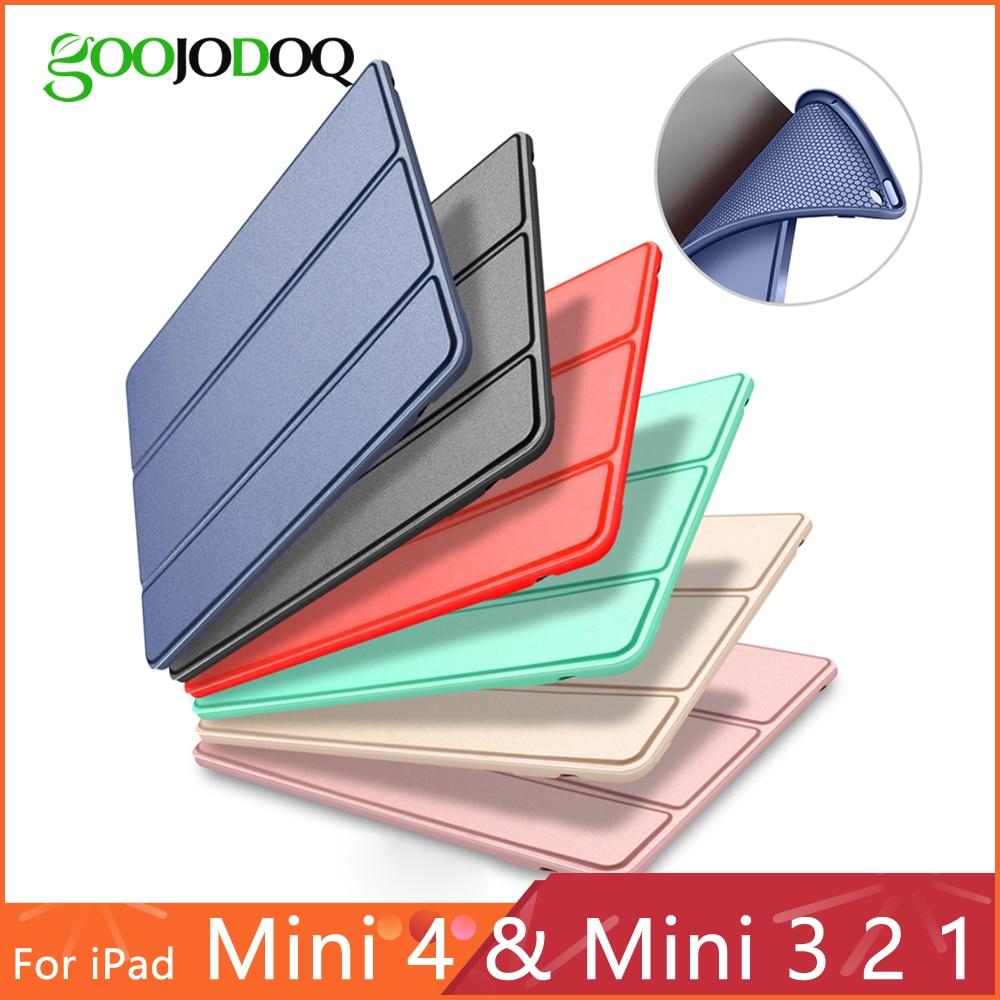 Funda para iPad Mini 4 3 2 1 caso de cuero de la PU de silicona suave triple soporte Auto cubierta inteligente para iPad Mini 2 Funda