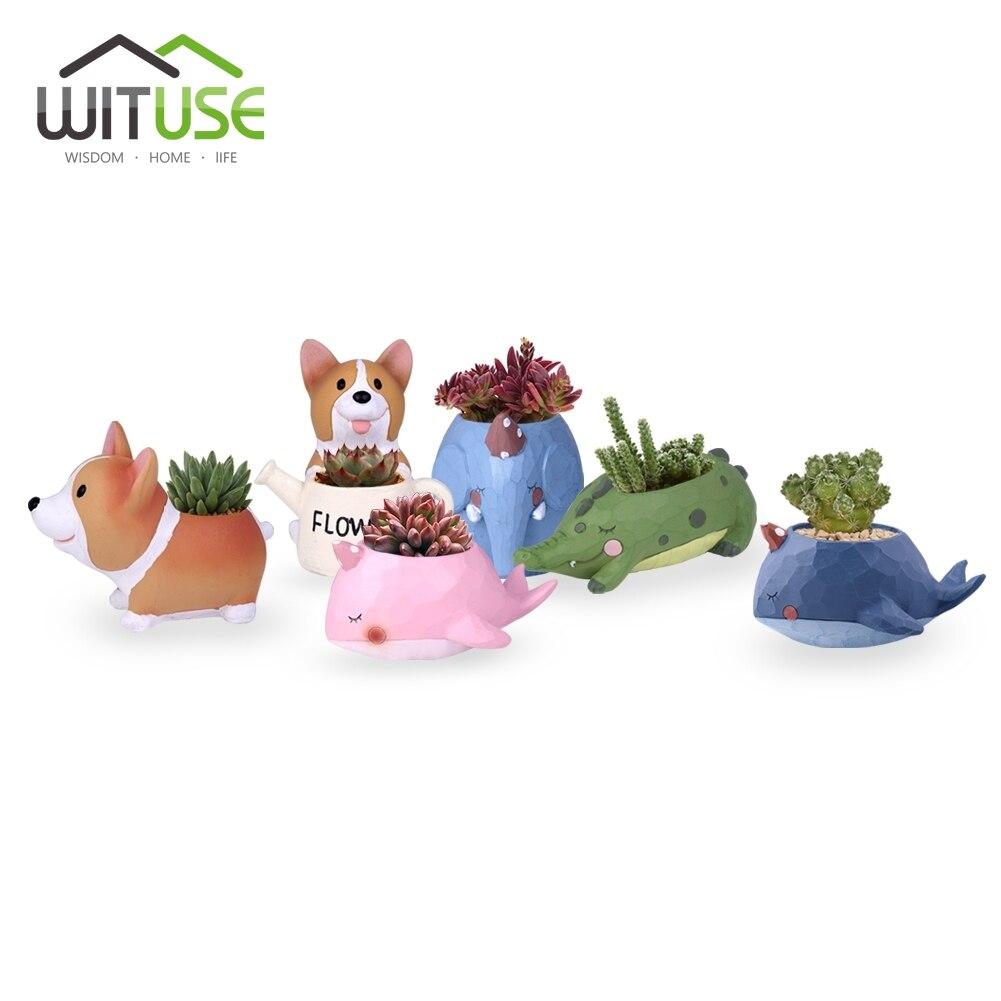 WITUSE Small Flower Pots Animals Cute Potted Flower Succulent Plant Pot Decorative Resin Desktop Planter Bonsai Pot Home Decors