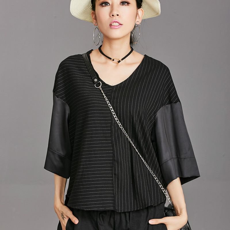 Plus Size Women Shirt Black Blouses Autumn Vintage Elegant Office Lady Streetwear Striped Lantern Sleeve Blouse Shirts BM9817(China)
