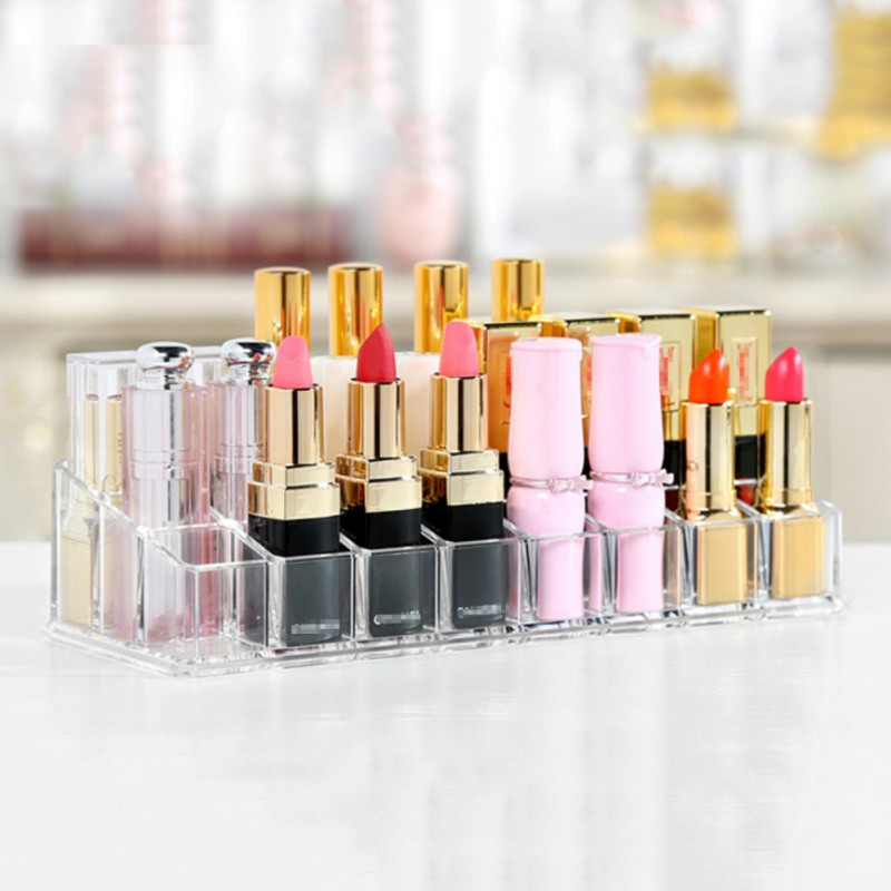 24/36 Grids Acrylic Lipstick Holder Cosmetic Storage Box Makeup Organizer Sundries Display Box New