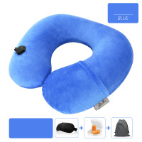 Press-type Inflatable Cervical Air Travel Neck Pillow U-shaped Airplane Portable 4pieces Crystal Velvet Pillow