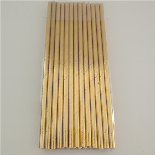 25Pcs Disposable Pure Color Bronzing Gold Silver Creative Wedding Supplies Birthday Event Party Decorating Beverage Paper Straw 4