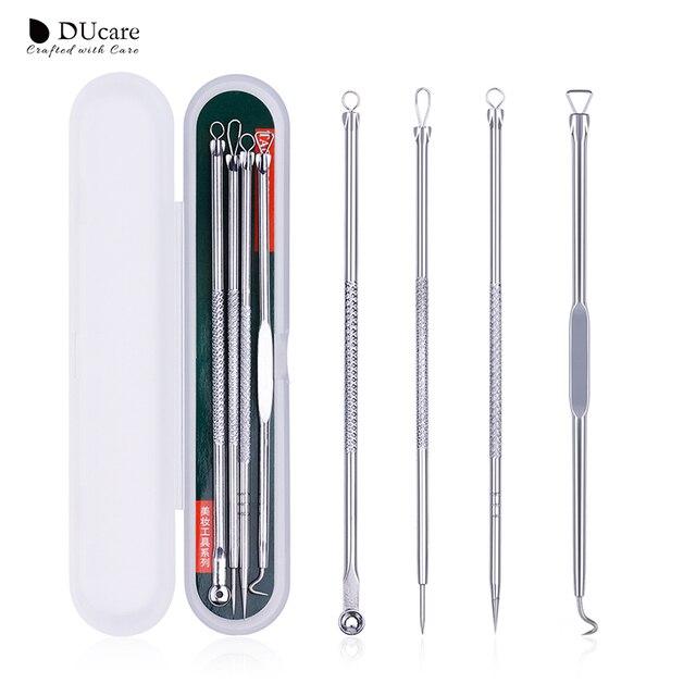 DUcare 4 piezas Blackhead removedor de acero inoxidable eliminar el acné herramienta Blackhead pinzas limpiador de poros Comedone acné Extractor de aguja