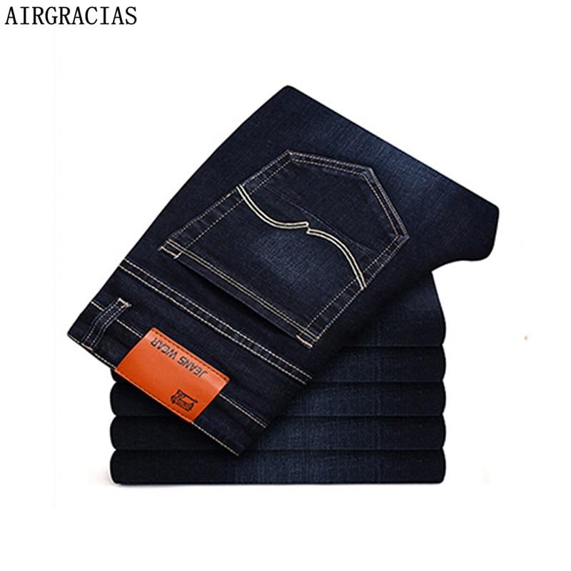 AIRGRACIAS Men Jeans Elastic Hot Sale Straight Long Trousers Pants Cotton Denim Jeans Men 2019 Spring New Fashion Men Jean