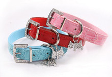 Dog Collar Bling Crystal Bow Leather Pet Collar Puppy Choker Cat Necklace S M