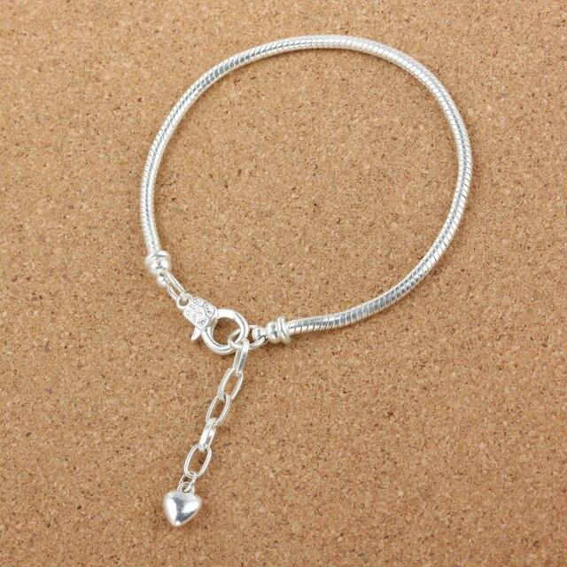 10pcs Fashion Women European silver Snake chain Lobster clasp Bracelet charm chain fit European jewelry Bead diy   js653