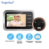 Topvico Motion Detection Video Doorbell Peephole Camera Electronic Ring Video eye Door Viewer Security Auto Photo Video Record