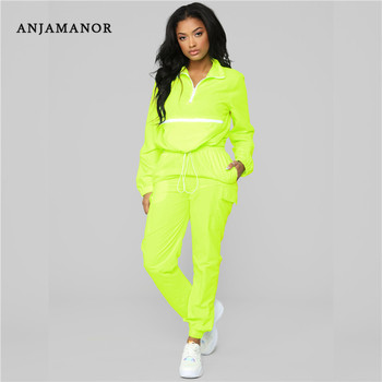 ANJAMANOR Casual Neon Tracksuit Women Two 2 Piece Set Workout Outfit Lounge Matching Sets Spring Clothes 2019 Streetwear D72AD29 photo shoot