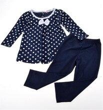Girl spring autumn dot 2 pieces suit kids princess bow sets Wear Long Sleeve Costumes Tops Shirt Blouse + Legging Pants Suit Set