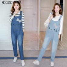 MODENGYUNMA Maternity Clothes Spring Autumn New Fashion Strap Pregnant Woman Pants Embroidered Loose Pregnancy Jeans Vestidos недорого