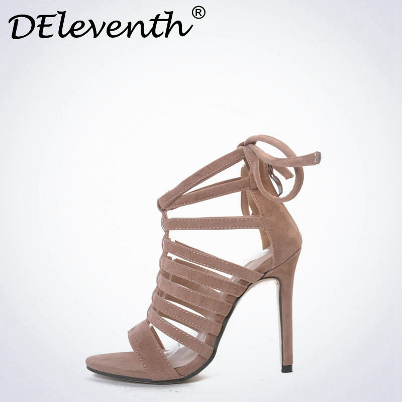 DEleventh Elegant chaussures femme ete 2017 Zipper Ankle Strap Shoes Sandals Open toe High Heels Shoes Sandales Zapatos de mujer