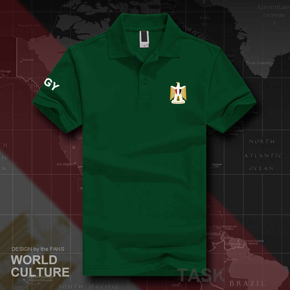 Camisetas polo EGY de manga corta para hombre marcas blancas impresas para país 2018 emblema de la nación de algodón nuevo de moda