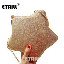 ETAILL Star Shape Glitter Sparkling Nude Evening Bag Fashion Full Sequins Box Clutch Bag Female Chain Crossbody Shoulder Bags star detail glitter crossbody bag