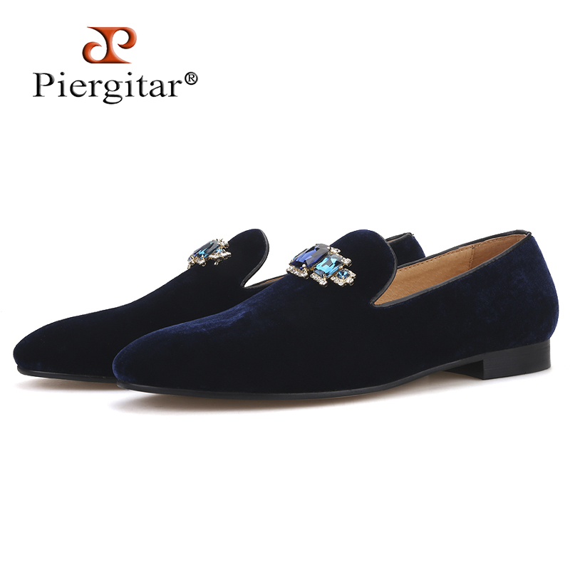 Piergitar 2019 new style Four Colors Rhinestone men shoes Fashion Party and wedding men loafers Slip