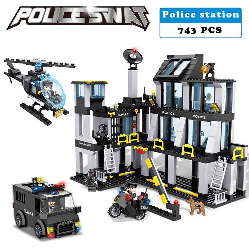 Police station SWAT Hotel De Police doll Military Series 3D Model building blocks compatible with lego city Boy Toy hobbies Gift sluban b2100 city police riot swat helicopter 3d construction plastic model building blocks bricks compatible with lego