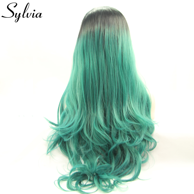 sylvia black to green ombre loose wave synthetic lace front wigs green heat resistant fiber hair with dark roots middle parting