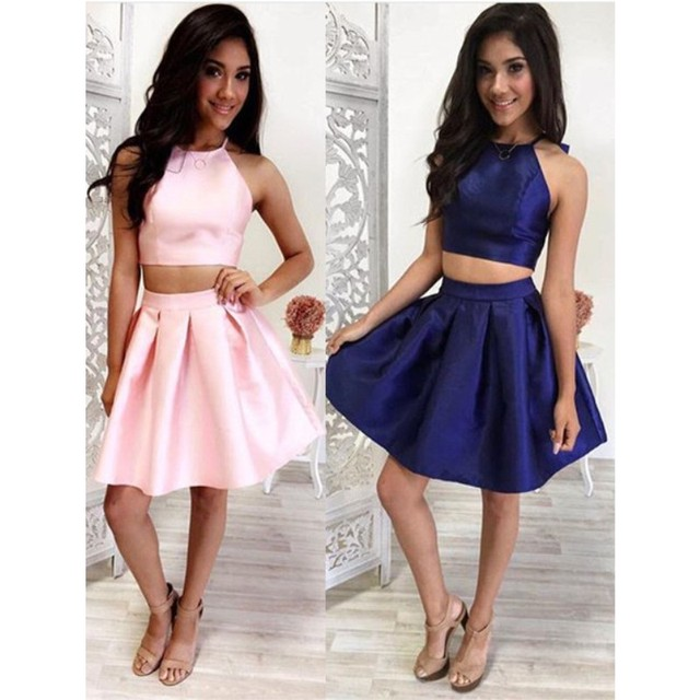 two piece short homecoming dress 2016 white royal blue sexy halter christmas party dresses mini vestidos