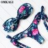 OMKAGI Brand Bikinis Set Swimsuit Swimwear Women Sexy Off Shoulder Swimming Suit Beachwear Push Up Brazilian
