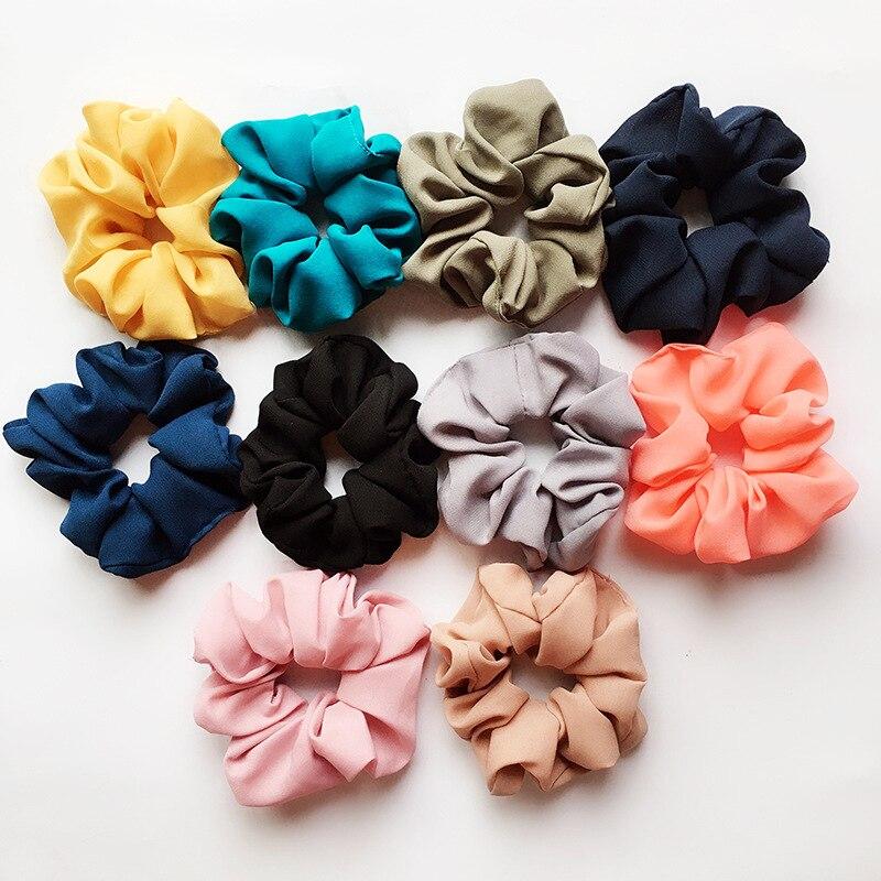 1Pc Vintage Hair Scrunchies Lady Stretch Chiffon Scrunchie Women Elastic Hair Bands Girls   Headwear   Solid Hair Ties Drop Shipping