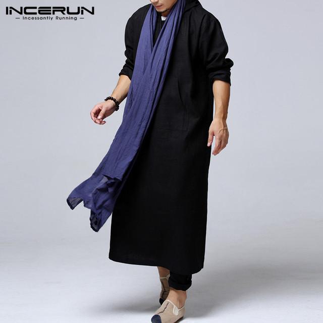 INCERUN Muslim Costume Gown Men Hoodies Hiphop Robe Arab Kaftan Long Sleeve Cotton Full Length Ethnic Islamic Hombre Outwears